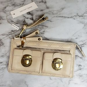 Marc Jacobs Italy Cream Quilted Leather Wallet NWT